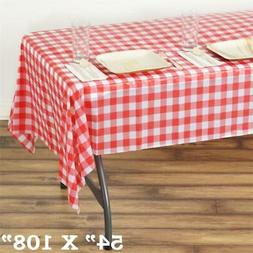 """White Red RECTANGLE 54x108"""" Checkered Disposable Plastic TAB"""