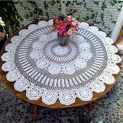 Gracebuy 39 Inch White Round HANDMADE Cotton Crochet Lace Ta