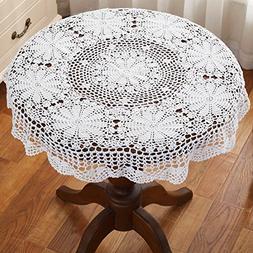 gracebuy 39 Inch White Round 100% HANDMADE Crochet Lace Tabl