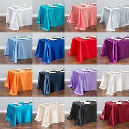 White Satin <font><b>Table</b></font> Cloth 140cmx250cm Rect