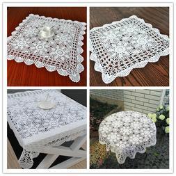 White Square Lace Tablecloth Vintage Cotton Crochet Table Cl