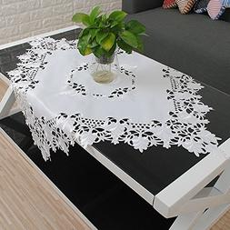 yazi White Table Cover Ribbon Embroidered Floral Fabric Clas