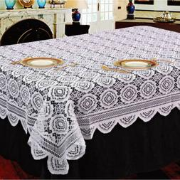 White Vintage Lace Tablecloth Floral knitted Table Cover Rec