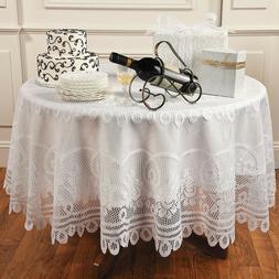 White Vintage Tablecloth Floral Lace Table Cover Wedding Par