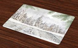 Winter Placemats Set of 4 Snow Covered Forest Print Fabric T