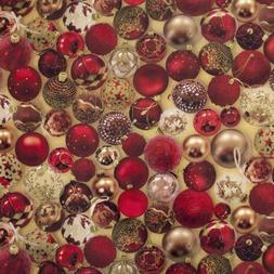 WIPE CLEAN PLASTIC PLAIN GOLD RED BAUBLES CHRISTMAS PVC VINY