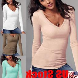 Womens Basic Long Sleeve Shirt Ladies V Neck Plain T-shirt T