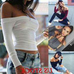 Womens Off Shoulder Shirt Crop Tops Long Sleeve Blouse Jumpe