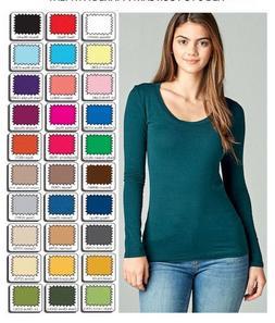 Womens T Shirt Scoop Long Sleeve Active Basic Stretch Light