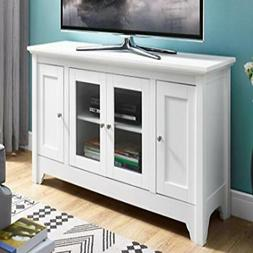 """WE Furniture 52"""" Wood TV Media Stand Storage Console - White"""