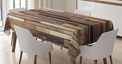Wooden Tablecloth by Ambesonne, Brown Old Hardwood Floor Pla