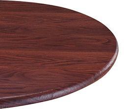 LAMINET Woodgrain Elastic Round Table Cover, Large, Mahogany