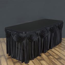 BalsaCircle 14 feet x 29-Inch Black Satin Drape Banquet Tabl