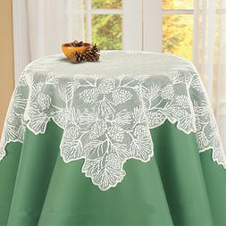 Xmas Pinecone Tablecloth Lace Square Table Cover Christmas H