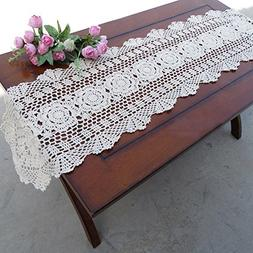 yazi Rustic Floral Table Runners Oval Handmade Crochet Table