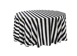 YCC Linen - 120 inch Round Satin Tablecloth Black/White Stri