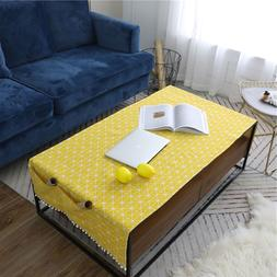 Yellow Geometric Cotton Linen Tablecloth Rectangular Living