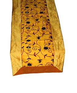 FashionShopmart Yellow Traditional Silk Table Runner/Decorat