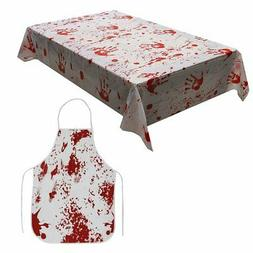 XONOR Zombie Blood Halloween Party Table Cover with Creepy B